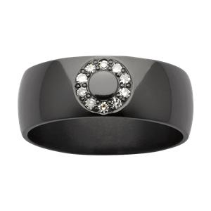 <p>Zirconium band with diamonds</p>