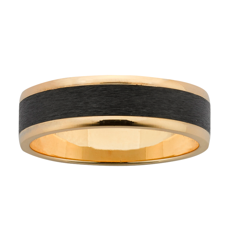 <p>6mm wide Yellow Gold band with polished edges, and Black Zirconium centre with sanded finish.</p>