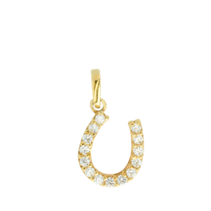 <p>9ct yellow gold Horse Shoe Pendant set with Cubic Zirconia</p>