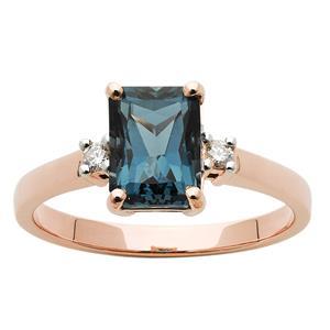 <p>Emerald Cut London Blue Topaz Ring with Diamonds.</p>
