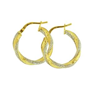 9 Carat Yellow Gold Silver Bonded with Glitter Earrings