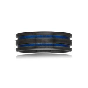 Black and Blue Zirconium ring, Sanded Top