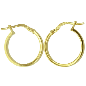 <p>9ct yellow gold Silver Filled Hoop Earrings</p> <p>Measures 15mm across by 2.5mm wide</p>