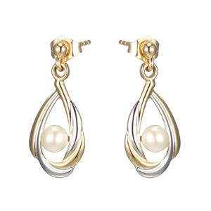 9ct Yellow Gold and Rhodium Plated Earrings