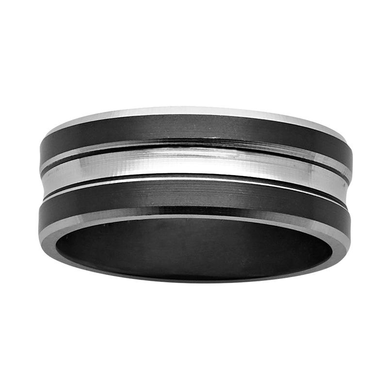 8mm black and white Zirconium ring