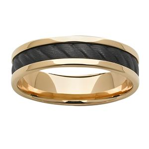 Yellow gold base with rope effect black zirconium centre