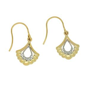 <p>9ct Yellow Gold Diamond Earrings on Shepherd Hook. Total Diamond Weight 0.02ct</p>
