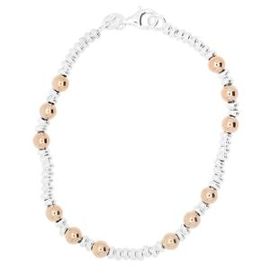 Rhodium Plated & Rose Gold Plated Sterling Silver Bracelet
