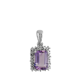 <p>9ct white gold Amethyst and Diamond Pendant</p>