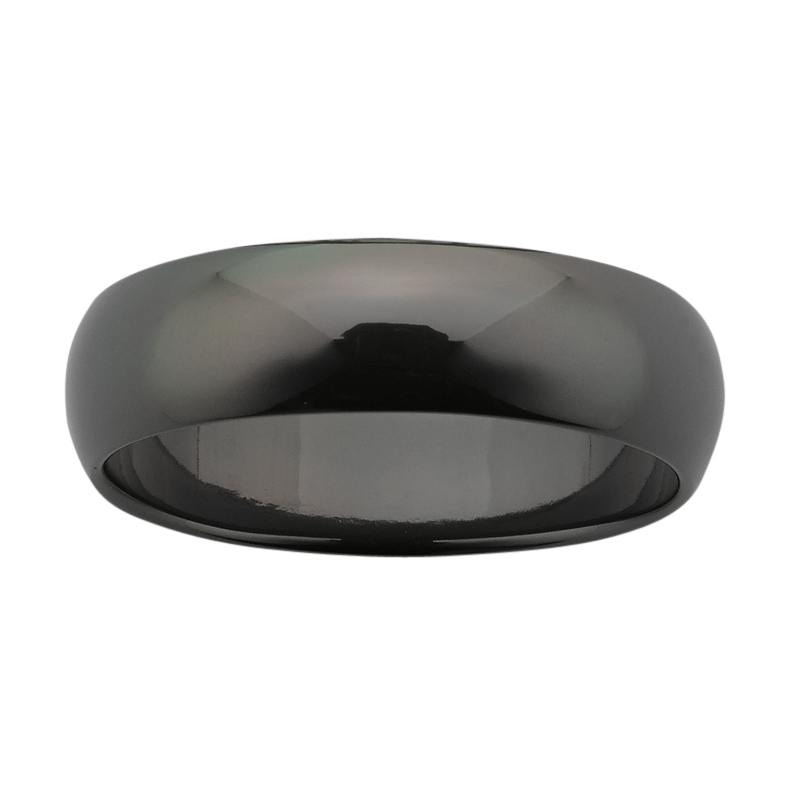 <p>6mm wide half round Black Zirconium band with polished finish.</p>