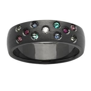 6mm black zirconium ring with Diamond, Biron Emerald, Rhodolite Garnet, Peridot, Ruby,  Sapphire