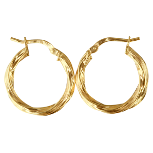 <p>9ct yellow gold Silver Filled Twisted HoopEarrings</p> <p>Measures 15mm across by 2.5mm wide</p>