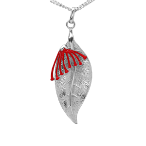 <p>Pohutukawa flower and leaf pendant with 45cm chain and box</p>