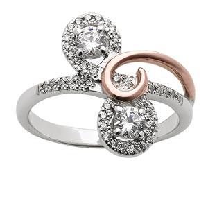 White & Rose Gold Diamond Ring