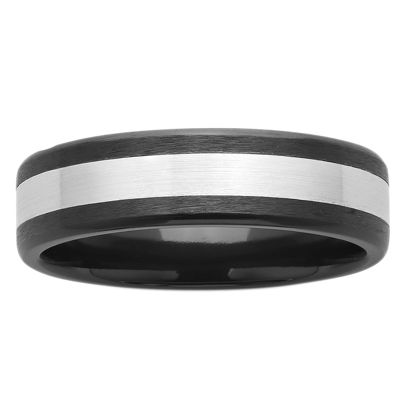 6mm Black and White Sanded ZiRO Ring