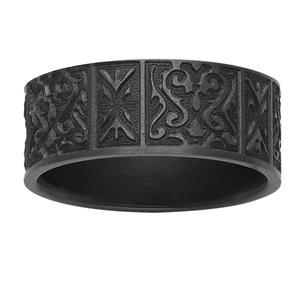 8mm patterned black zirconium ring