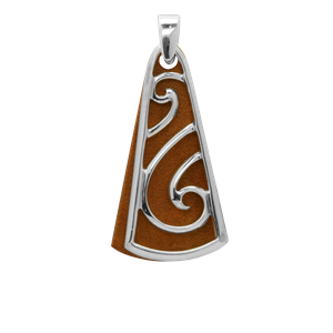 <p>Sterling silver pendant on chain with wood</p>