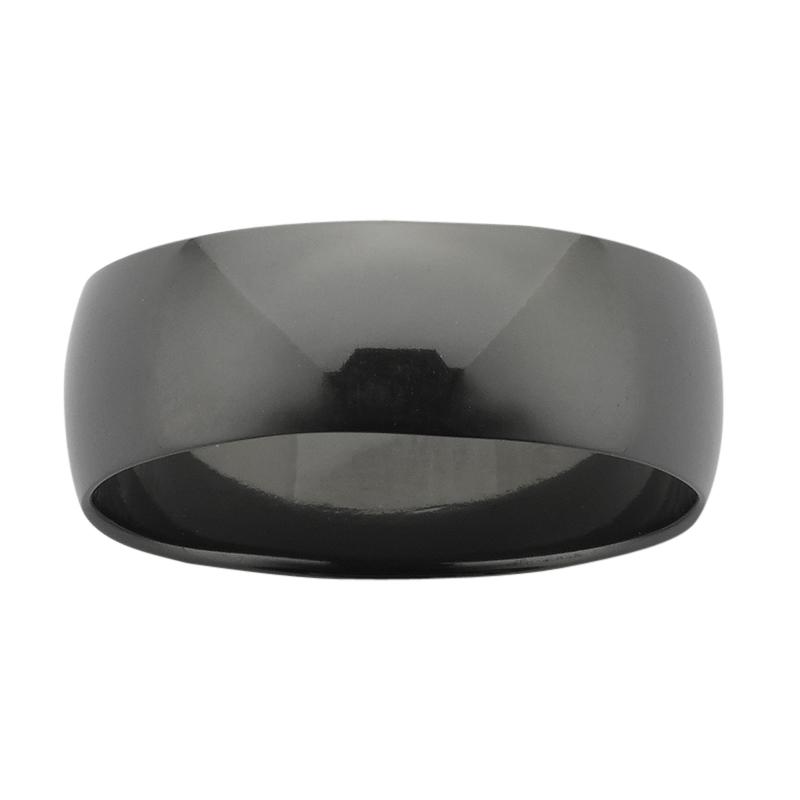 8mm wide half round Black Zirconium band with polished finish.