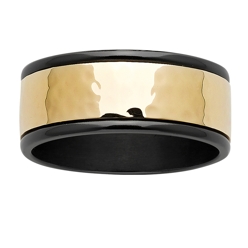 Zirconium Ring with hammered gold centre