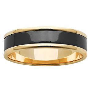6mm Gold and Polished Black Zirconium ZiRO Ring