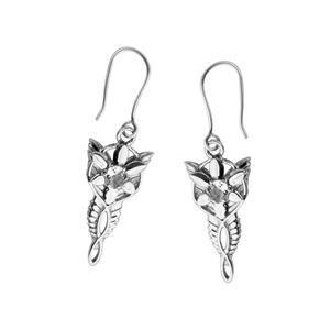 <p>Arwen's Evenstar earrings.</p> <p></p> <p>Arwen is an Elven Princess known also as Evenstar because of <br /> her unparalleled beauty. Blessed with Elven immortality, Arwen falls in love with Aragorn, a mortal man, and must choose between eternal life or the man she loves. She gives Aragorn her pendant as a token of her love.</p> <p></p> <p>The earrings are available in either Gold or Sterling, and are each set with a 5x4mm cubic zirconia, amethyst, or blue topaz. Comes with the Official Lord of the Rings pouch.</p>