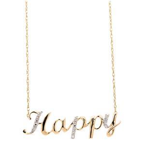 <p>9ct Yellow Gold Diamond 'Happy' Necklace</p>