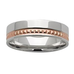 <p>6mm White &amp; Rose Gold Patterned ring</p>