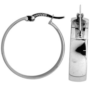 9ct silver filled 9CT WHITE Earrings, 20mm diameter & 6mm width