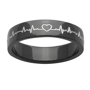 Black Zirconium Heart Beat Ring