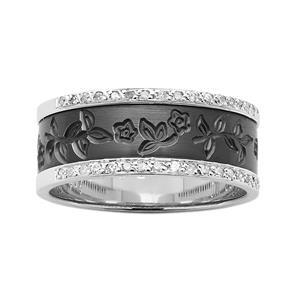 8mm Flower Engraved Black Zirconium ZiRO Ring with Diamond set Edges