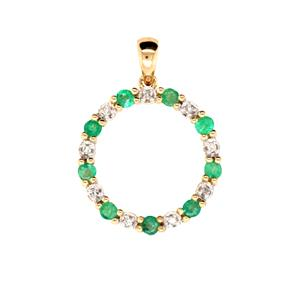 Natural Emerald and Diamond Pendant, Total Diamond Weight 0.04ct