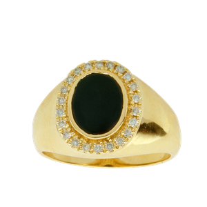 <p>Gents ring available in 9 carat yellow or sterling silver with Onyx (7.5 x 9.5mm) and diamonds, TDW .146ct</p>