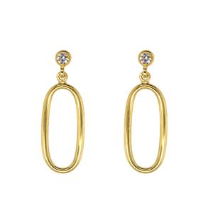 9ct Yellow and Silver Bonded Cubic Zirconia Hoop Earrings