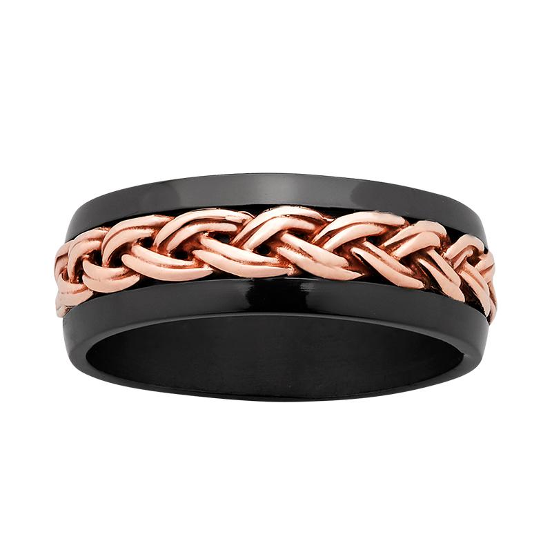 ZiRO Black & Rose Gold Celtic Rope Ring