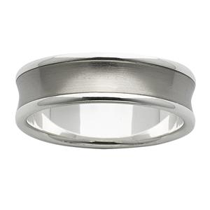 <p>7mm White Gold Ring with a Concaved sanded titanium centre</p>