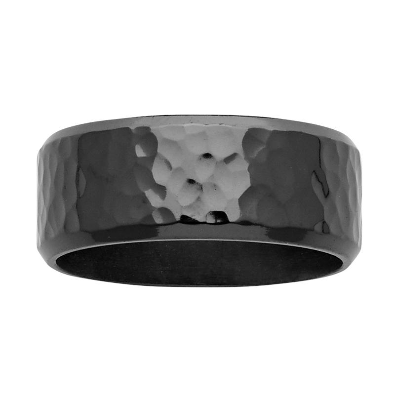 9mm Hammered Black Zirconium Ring