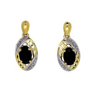 <p>9ct Yellow Gold Sapphire & Diamond Earrings. Total Diamond Weight 0.01ct</p>
