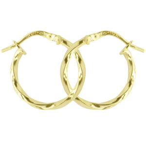 <p>9ct yellow gold Silver Filled Twisted Hoop Earrings</p> <p>Measures 15mm across by 2mm wide</p>