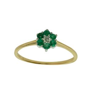 <p>Emerald and diamond ring, TDW .04ct KI/1</p>