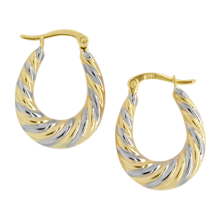<p>9ct yellow gold Hoop Earrings with rhodium plating</p>