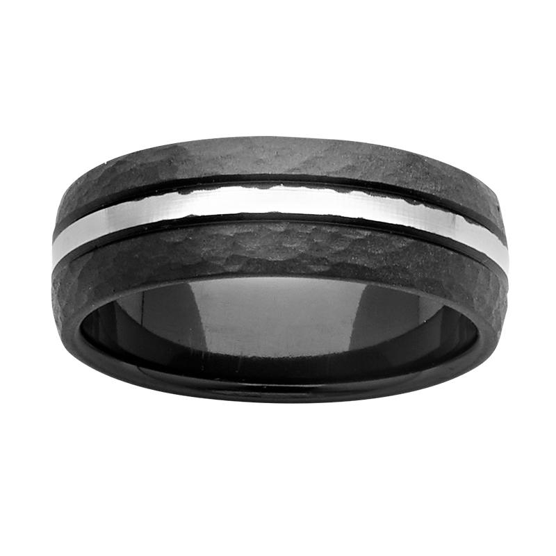 <p>7mm black and white Zirconium ring</p>