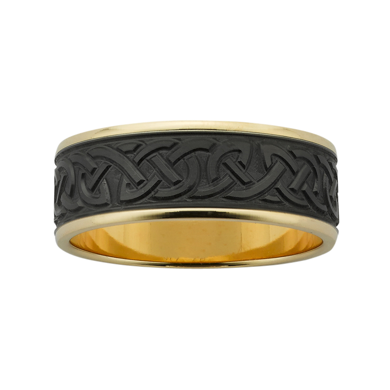 8mm wide machine engraved Celtic band, with polished yellow gold base and brushed Black Zirconium centre.