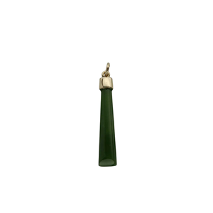 <p>Greenstone pendant with chain and box</p>