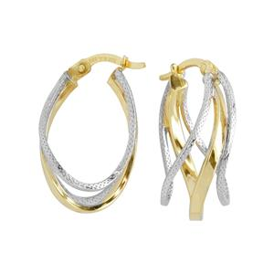 9 Carat Yellow and White gold with Sterling Silver Earrings