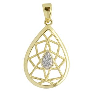 <p>9ct yellow gold Teardrop Diamond Pendant with rhodium plated settings</p>