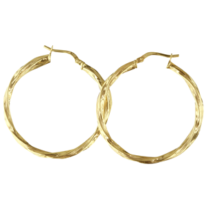 <p>9ct yellow gold Silver Filled Twisted Hoop Earrings</p> <p>Measures 30mm across by 2.5mm wide</p>
