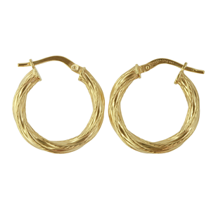 <p>9ct yellow gold Silver Filled Twisted Hoop Earrings</p> <p>Measures 15mm across by 3mm wide</p>