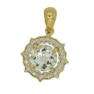9ct Yellow Gold Aquamarine & Diamond Pendant