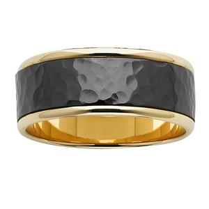 Yellow Gold Base with hammered black zirconum centre