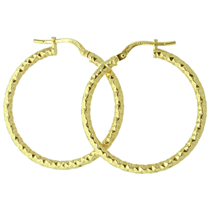 <p>9ct yellow gold Silver Filled Faceted Hoop Earrings</p> <p>Measures 25mm across by 2mm wide</p>